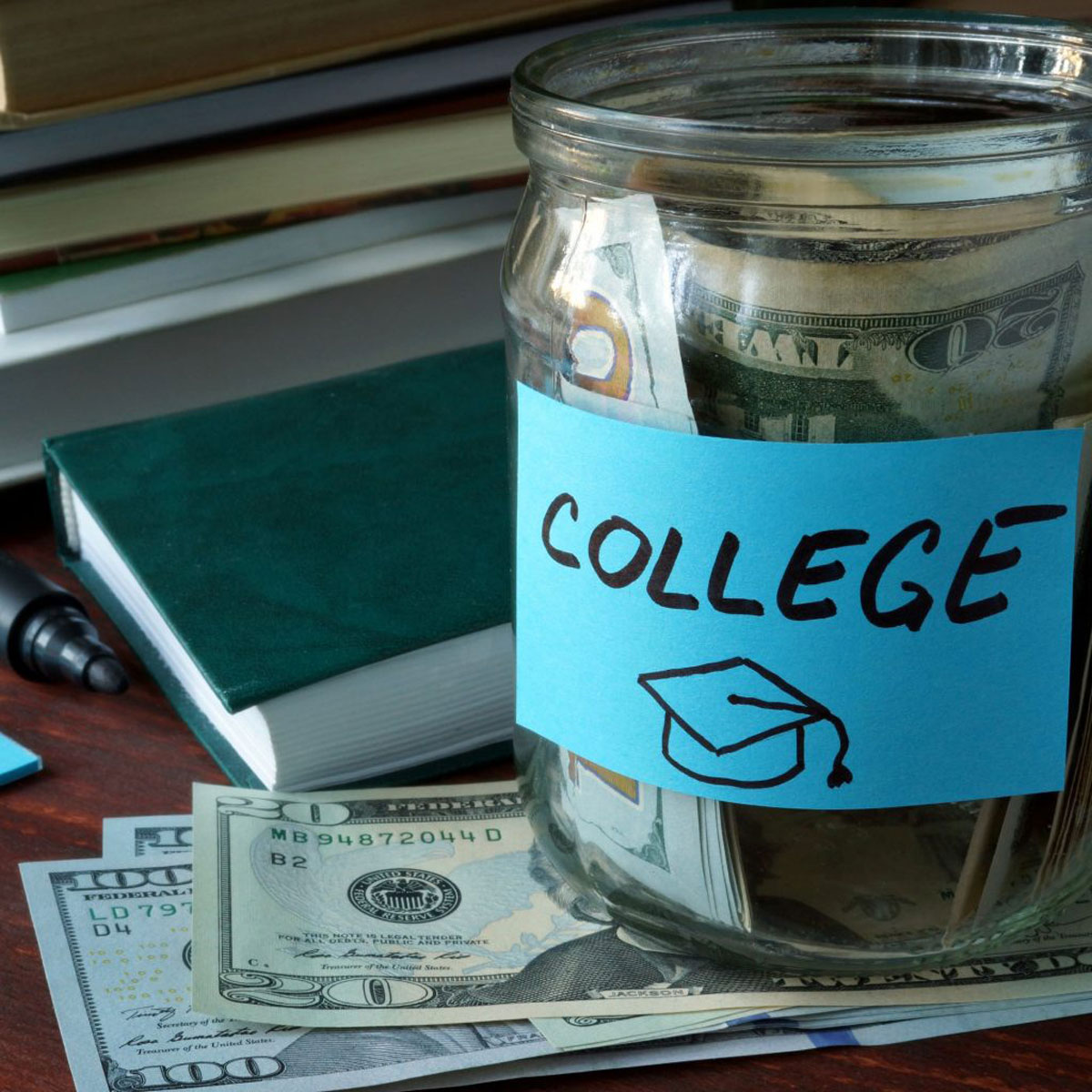 Jar Labeled College Full of Money