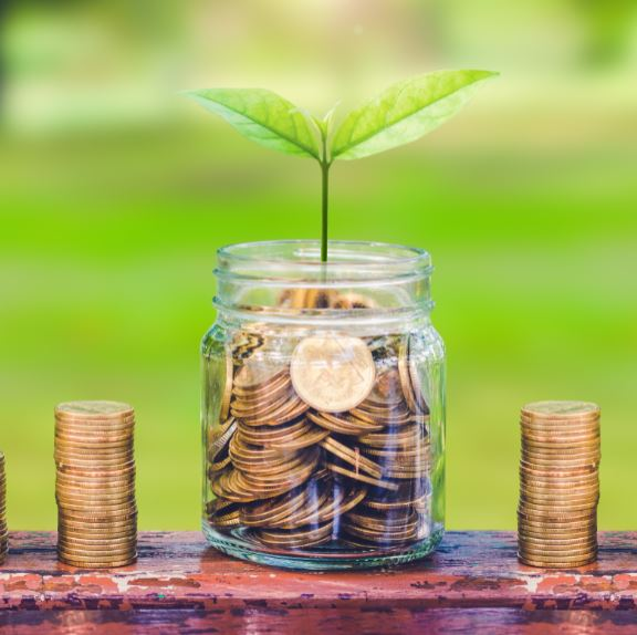 green plant growing on coin in glass jar and coin stack on wood table in park with blur nature background