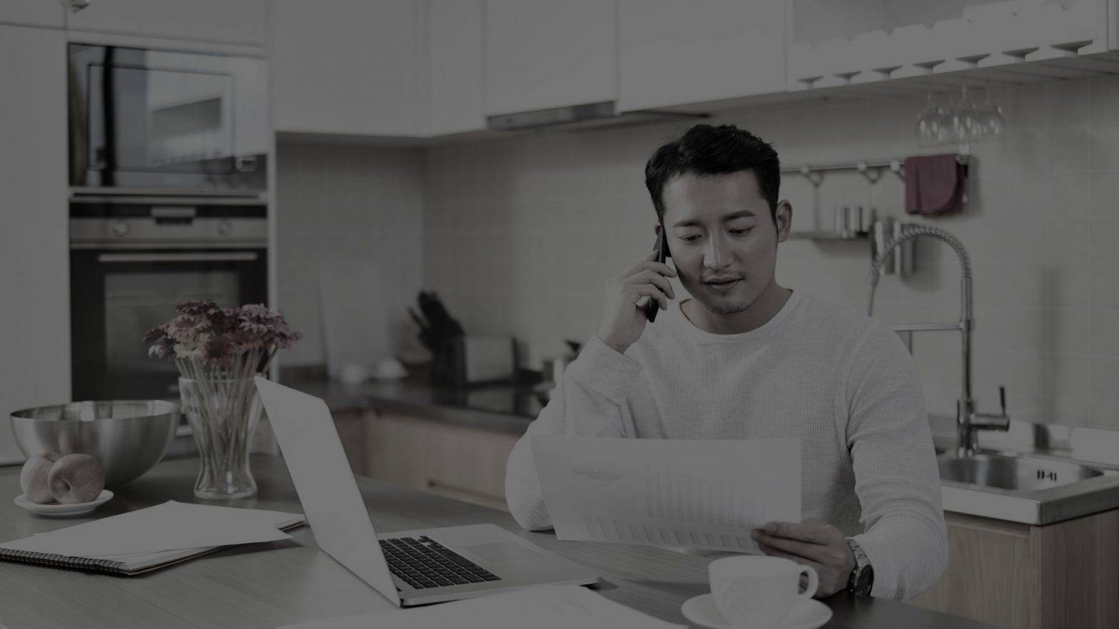 man working remotely to implement business goals