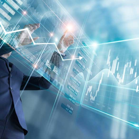 Businessman touching finance growth and graph chart analysing diagram sale data, stock market and currency exchange on virtual interface.